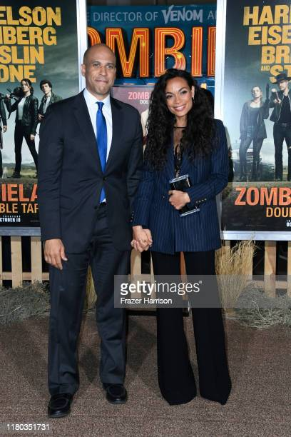 """Senator Cory Booker and Rosario Dawson attend the Premiere Of Sony Pictures' """"Zombieland Double Tap"""" at Regency Village Theatre on October 10, 2019..."""