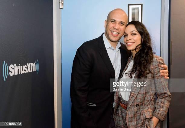 Senator Cory Booker and Rosario Dawson visit SiriusXM Studios on February 07, 2020 in New York City.