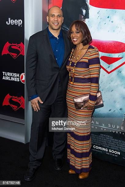 S Senator Cory Booker and tv personality Gayle King attend the 'Batman V Superman Dawn Of Justice' New York premiere at Radio City Music Hall on...
