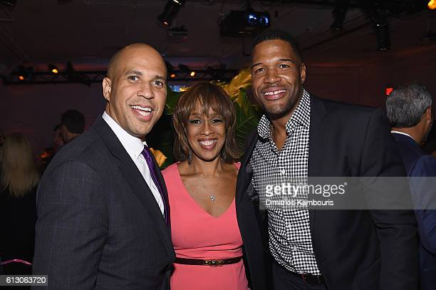 Senator Cory Booker Gayle King and TV personality Michael Strahan attend the Jon Bon Jovi Soul Foundation's 10 year anniversary at the Garage on...