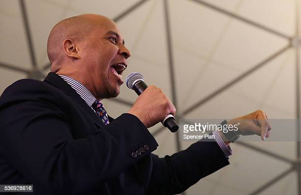 S Senator Cory Booker introduces Democratic presidential candidate Hillary Clinton at a rally on June 1 2016 in Newark New Jersey Clinton will head...