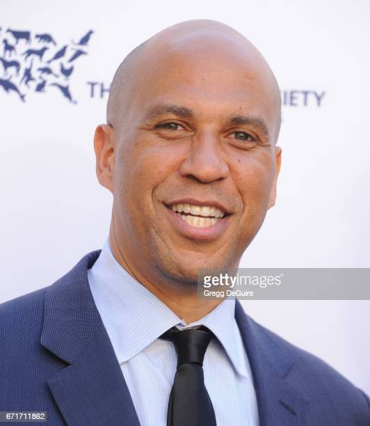 Senator Cory Booker of New Jersey arrives at the Humane Society Of The United States' Annual To The Rescue Los Angeles Benefit at Paramount Studios...