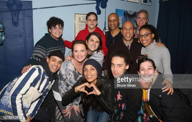 Senator Cory Booker Rosario Dawson and family pose backstage at the hit Tony Winning Musical 'Dear Evan Hansen' on Broadway at The Music Box Theatre...