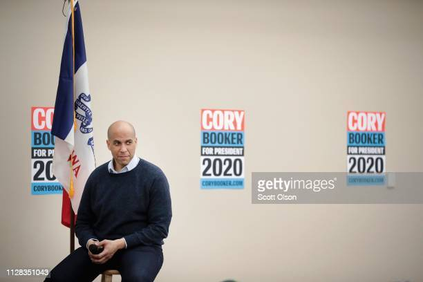 S Senator Cory Booker speaks during a campaign stop at the African American Museum of Iowa on February 08 2019 in Cedar Rapids Iowa Booker whose has...