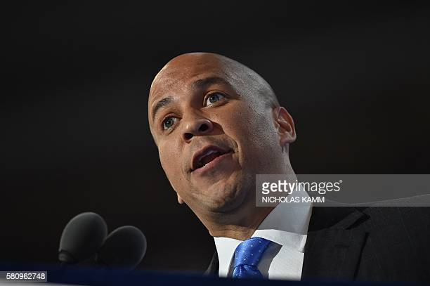 Senator Cory Booker speaks during Day 1 of the Democratic National Convention at the Wells Fargo Center in Philadelphia Pennsylvania July 25 2016 /...
