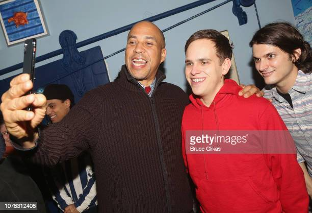 Senator Cory Booker Taylor Trensch and Alex Boniello pose for a selfie backstage at the hit Tony Winning Musical 'Dear Evan Hansen' on Broadway at...