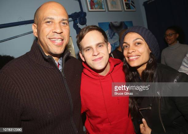 Senator Cory Booker Taylor Trensch and Rosario Dawson pose backstage at the hit Tony Winning Musical Dear Evan Hansen on Broadway at The Music Box...