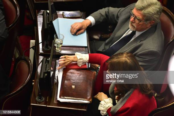 Senator Cristina Fernandez de Kirchner votes for the new abortion law on August 9 2018 in Buenos Aires Argentina The bill aims to expand abortion...