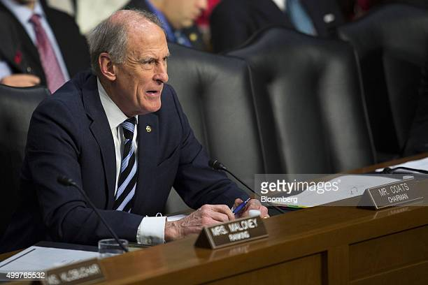 Senator Dan Coats a Republican from Indiana and chairman of the congressional Joint Economic Committee questions Federal Reserve Chair Janet Yellen...