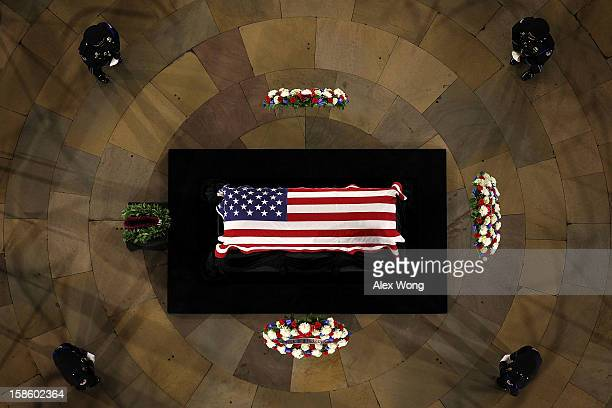 S Senator Daniel Inouye lies in state in the Rotunda of the US Capitol during a service December 20 2012 on Capitol Hill in Washington DC The late...