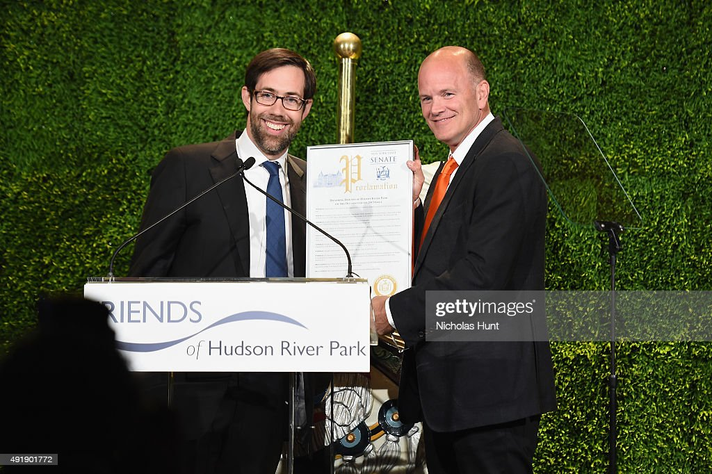 Senator Daniel Squadron (L) and Mike Novogratz speak onstage during the 2015 Friends of Hudson River Park Gala at Hudson River Park's Pier 62 on October 8, 2015 in New York City.