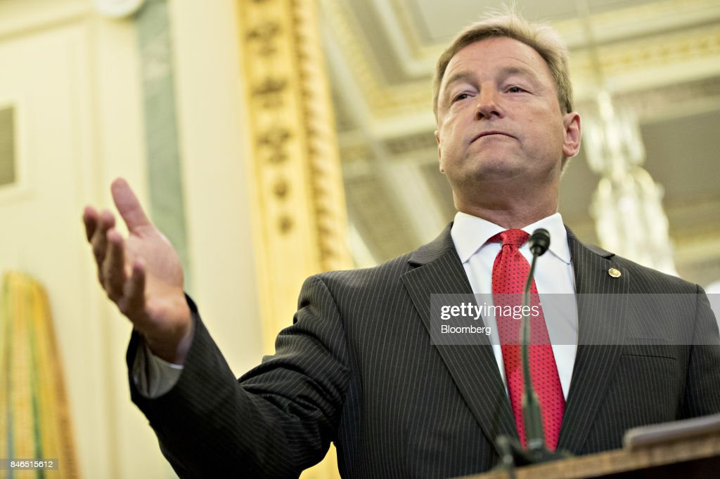 Senator Dean Heller, a Republican from Nevada, speaks during a news conference to reform health care on Capitol Hill in Washington, D.C., U.S., on Wednesday, Sept. 13, 2017. The Graham-Cassidy-Heller-Johnson (GCHJ) proposal repeals the structure of Obamacare and replaces it with a block grant given annually to states to help individuals pay for health care. Photographer: Andrew Harrer/Bloomberg via Getty Images