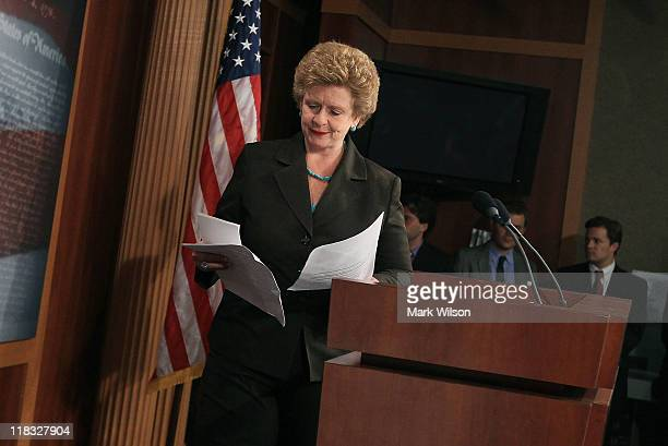 Senator Debbie Stabenow looks at her papers before addressing the media on wasteful tax breaks July 6 2011 in Washington DC Stabenow talked about a...