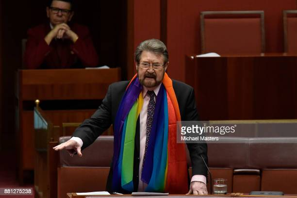 Senator Derryn Hinch speaks against Pauline Hanson's proposed amendment to the marriage equality bill in the Senate at Parliament House on November...