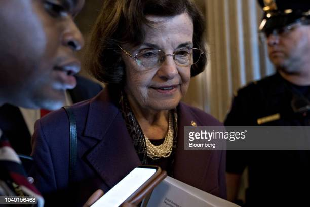 Senator Dianne Feinstein a Democrat from California and ranking member of the Senate Judiciary Committee speaks to members of the media after a...