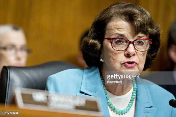 Senator Dianne Feinstein a Democrat from California and ranking member of the Senate Judiciary Committee makes an opening statement during a hearing...