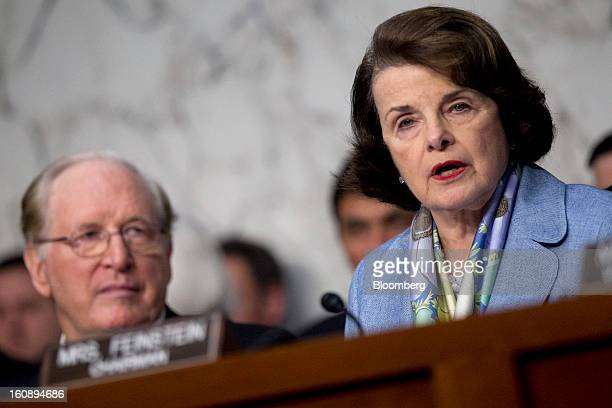 Senator Dianne Feinstein a Democrat from California right chairs a Senate Select Intelligence Committee nomination hearing of John Brennan nominee...