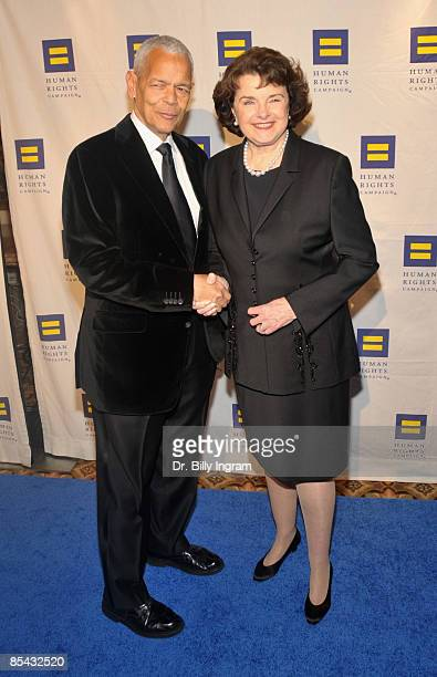 Senator, Dianne Feinstein and NAACP chairman, Julian Bond arrive at the Human Rights Campaign's Annual Los Angeles Gala & Hero Awards at the Hyatt...