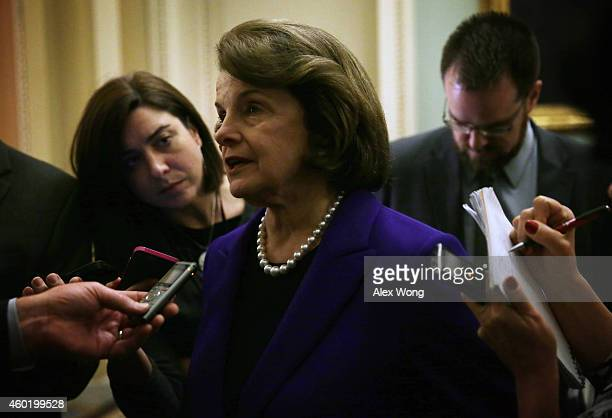 S Senator Dianne Feinstein answers questions from members of the media after she spoke on the Senate floor at the Capitol December 9 2014 on Capitol...
