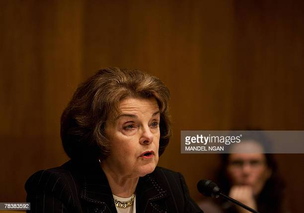 Senator Dianne Feinstein DCA Chair of the Senate Judiciary Committees Subcommittee on Terrorism Technology and Homeland Security speaks 11 December...