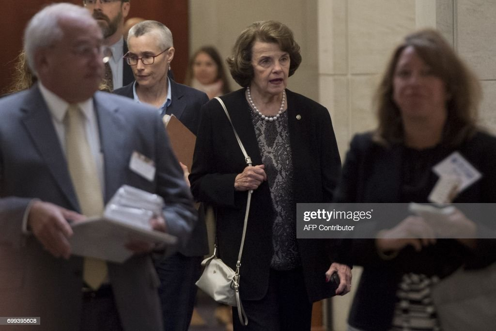 US Senator Dianne Feinstein, Democrat of California, arrives to meet with former FBI Director Robert Mueller, special counsel on the Russian investigation and members of the US Senate Judiciary Committee, on Capitol Hill in Washington, DC on June 21, 2017. /
