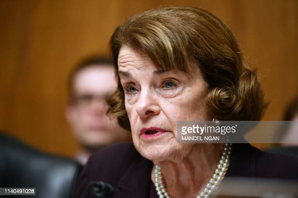 US Senator Dianne Feinstein speaks as US Attorney General William Barr prepares to testify before the Senate Judiciary Committee on The Justice...