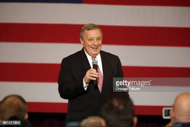 US Senator Dick Durbin and President Barack Obama stop at the Hoogland Center for the Arts in Springfield Ill on Wednesday Feb 10 2016 Durbin will...