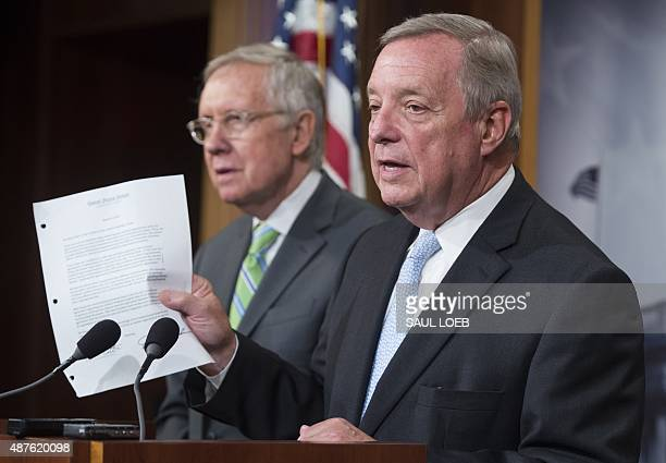 US Senator Dick Durbin Democrat of Illinois and Senate Democratic Whip holds up a letter that was sent from Senate Republicans to the leaders of Iran...