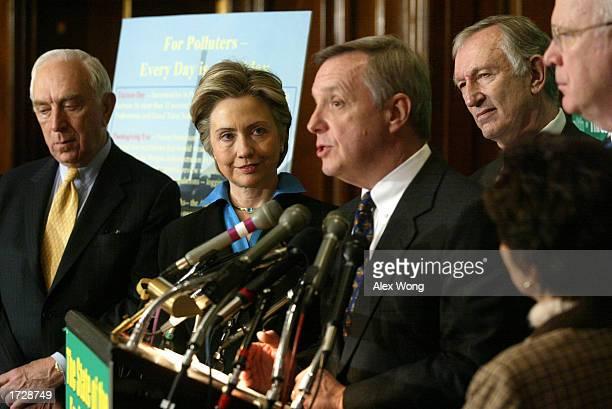 S Senator Dick Durbin speaks as colleagues US Senator Frank Lautenberg US Senator Hillary Clinton US Senator Jim Jeffords and US Senator Patrick...