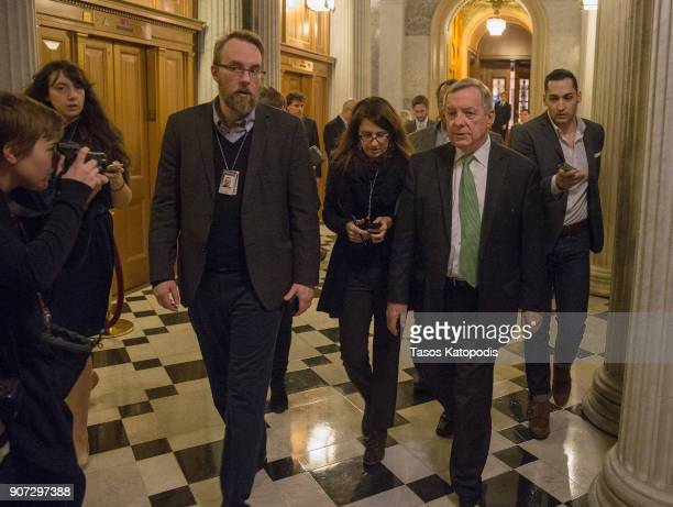 Senator Dick Durbin walks to the Democratic Caucus meeting at the US Capitol on January 19 2018 in Washington DC A continuing resolution to fund the...