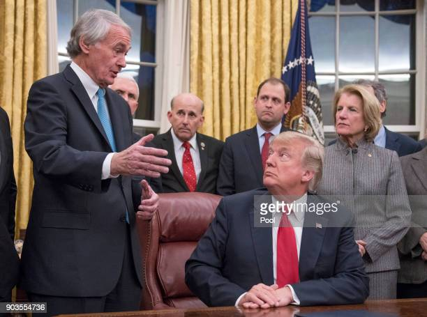 S Senator Ed Markey a sponsor of the bill makes remarks in the Oval Office prior to President Donald Trump signing the bipartisan Interdict Act a...