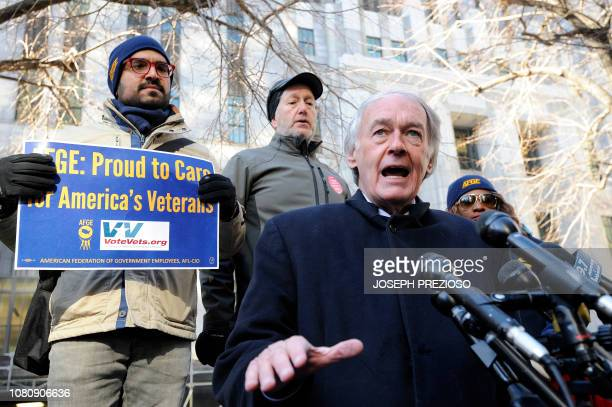 Senator Ed Markey addresses a protest rally by government workers and concerned citizens against the government shutdown on Friday January 11 2019 at...