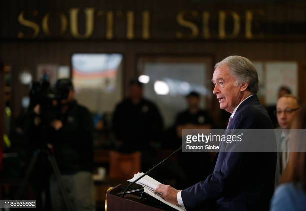 S Senator Ed Markey speaks at a press conference held to unveil new Federal Pipeline Safety Legislation named after Leonel Rondon in Lawrence MA on...