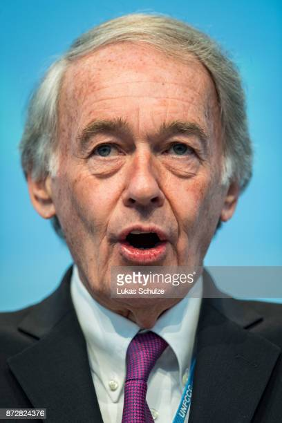 Senator Ed Markey talks during a discussion at the America's Pledge launch event at the US We Are Still In pavilion at the COP 23 United Nations...