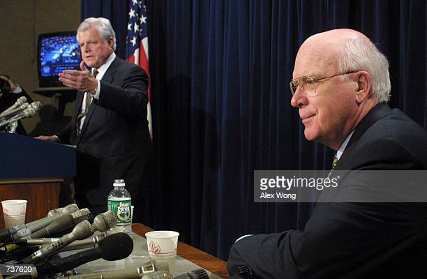Senator Edward Kennedy left answers questions from reporters as Senator Patrick Leahy looks on as they respond to the Senate confirmation of John...
