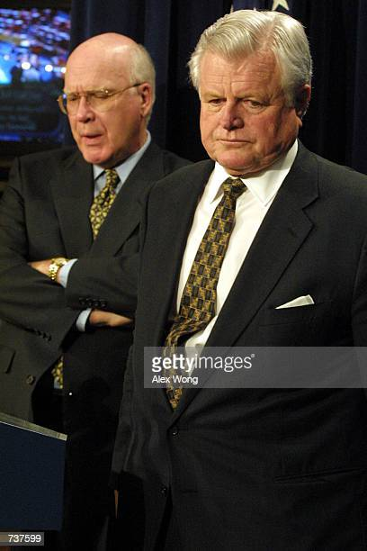 Senator Edward Kennedy right and Senator Patrick Leahy react as they respond to the Senate confirmation of John Ashcroft to be the Attorney General...
