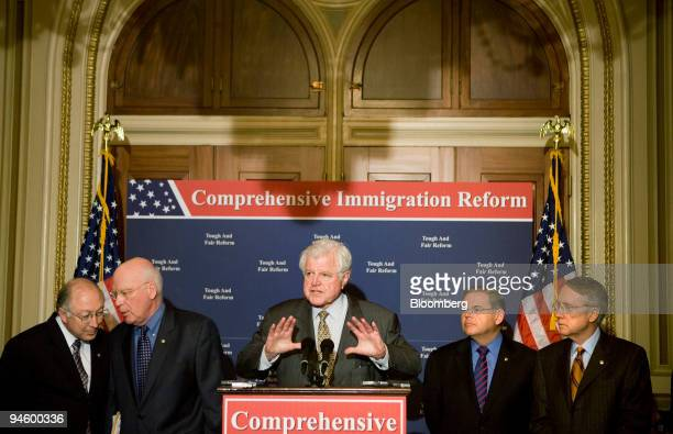 Senator Edward Kennedy speaks about immigration reform during a press conference with Senator Ken Salazar left Senator Patrick Leahy second from left...