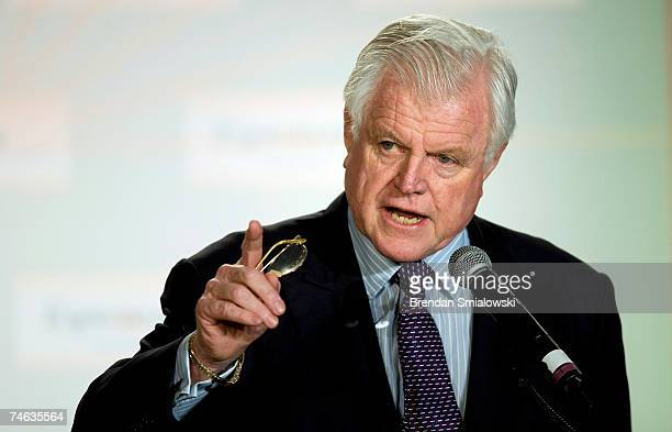 Senator Edward Kennedy speaks at the National Hispanic Prayer Breakfast June 15 2007 in Washington DC Kennedy spoke about immigration