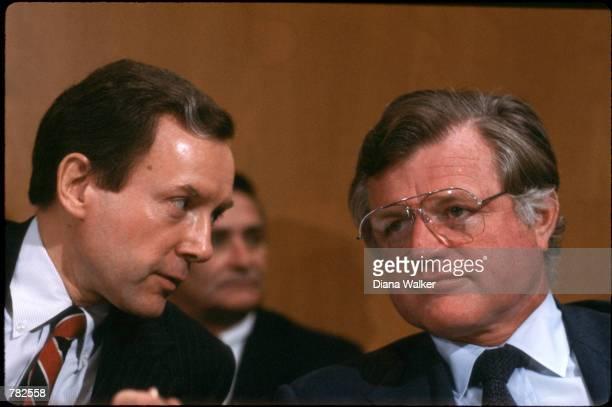 Senator Edward Kennedy talks with Orrin Hatch September 21 1982