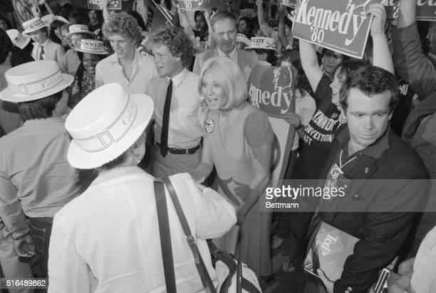 Senator Edward Kennedy's wife, Joan, greets an arriving California delegate to the Democratic National Convention here, at the New York's Kennedy...