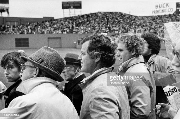 Senator Edward M Kennedy and his nephew Joseph Kennedy Patrick Kennedy II watch Game Two of the World Series between the Boston Red Sox and...