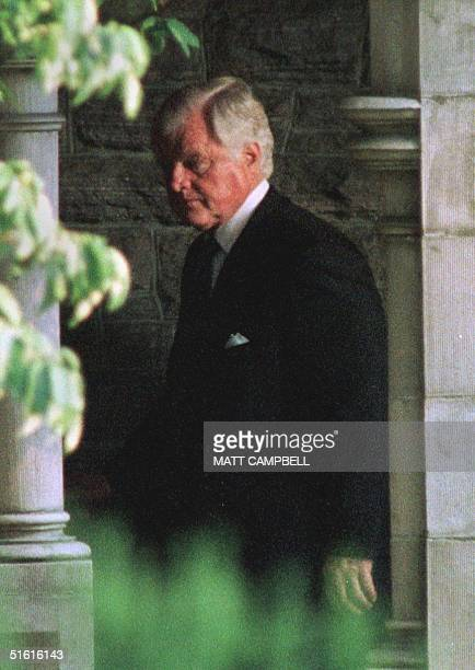 Senator Edward M Kennedy arrives at Christ Church 24 July 1999 in Greenwich Connecticut just before a memorial service for Lauren Bessette who was...
