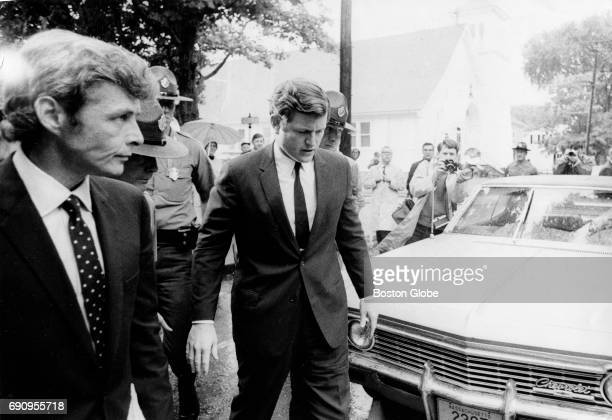 Senator Edward M Kennedy arrives to the Dukes County Courthouse in Edgartown Mass on July 25 after pleading guilty to leaving the scene of a fatal...