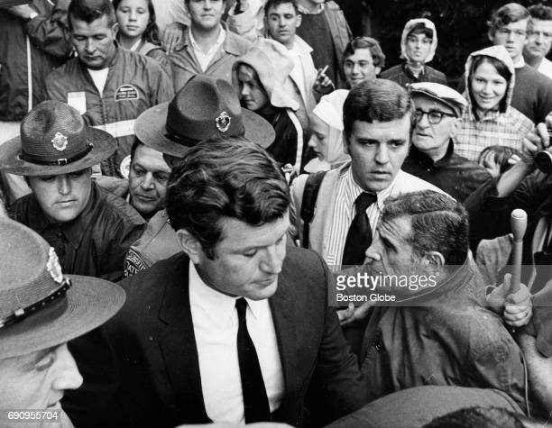 Senator Edward M Kennedy leaves the Dukes County Courthouse in Edgartown Mass on July 25 after pleading guilty to leaving the scene of a fatal auto...