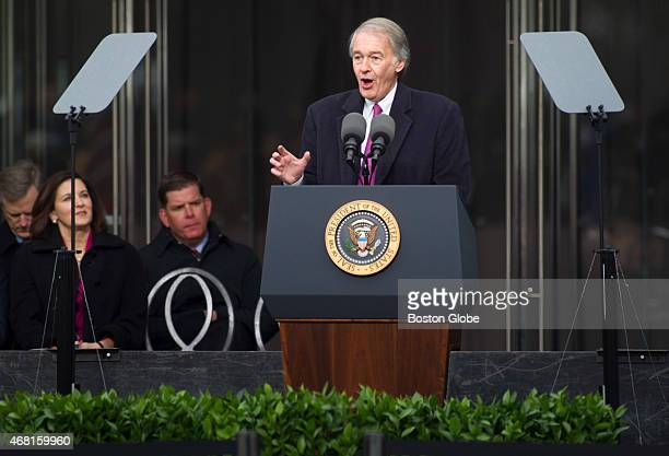 Senator Edward Markey delivers remarks during the dedication of the Edward M Kennedy Institute for the United States Senate Many top politicians...