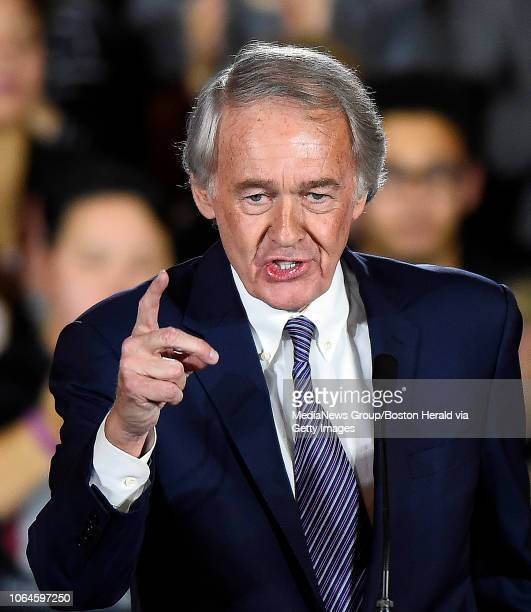 S Senator Edward Markey speaks during the Massachusetts Democratic Coordinated Campaign election night party at the Fairmont Copley Plaza hotel in...
