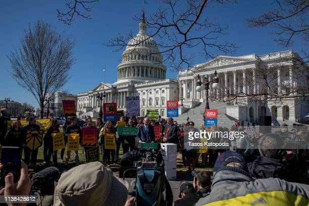 Senator Edward Markey speaks on Capitol Hill on March 26 2019 in Washington DC Protesters called for climate action in Congress and to blast...