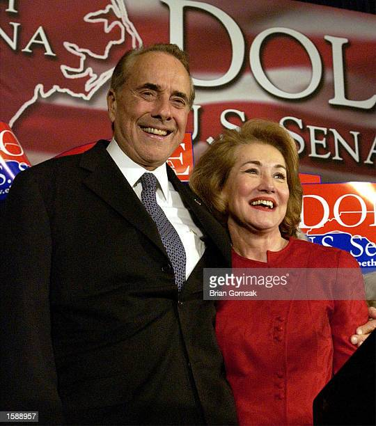 Senator Elizabeth Dole declares victory at campaign headquarters in her hometown with her husband Bob Dole November 5 2002 in Salisbury North...
