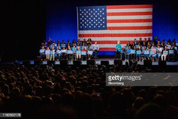 Senator Elizabeth Warren, a Democrat from Massachusetts and 2020 presidential candidate, speaks on stage during a campaign event in the Brooklyn...