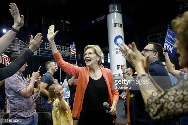 Senator Elizabeth Warren a Democrat from Massachusetts and 2020 presidential candidate greets supporters as her arrives for a town hall event in...
